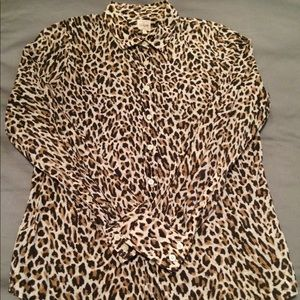 J. Crew leopard print perfect shirt